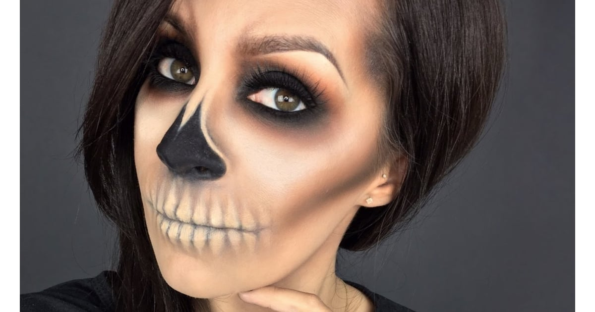 Skeleton halloween makeup look